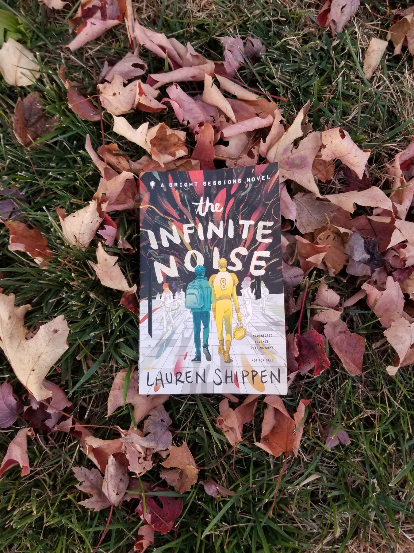 Book The Infinite Noise by Lauren Shippen in a pile of brown and reddish leaves and green grass