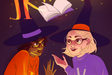 """cartoon renderings of Jessie and Kelly wear black witch hats. A book and text """"JK, it's magic"""" float above them"""