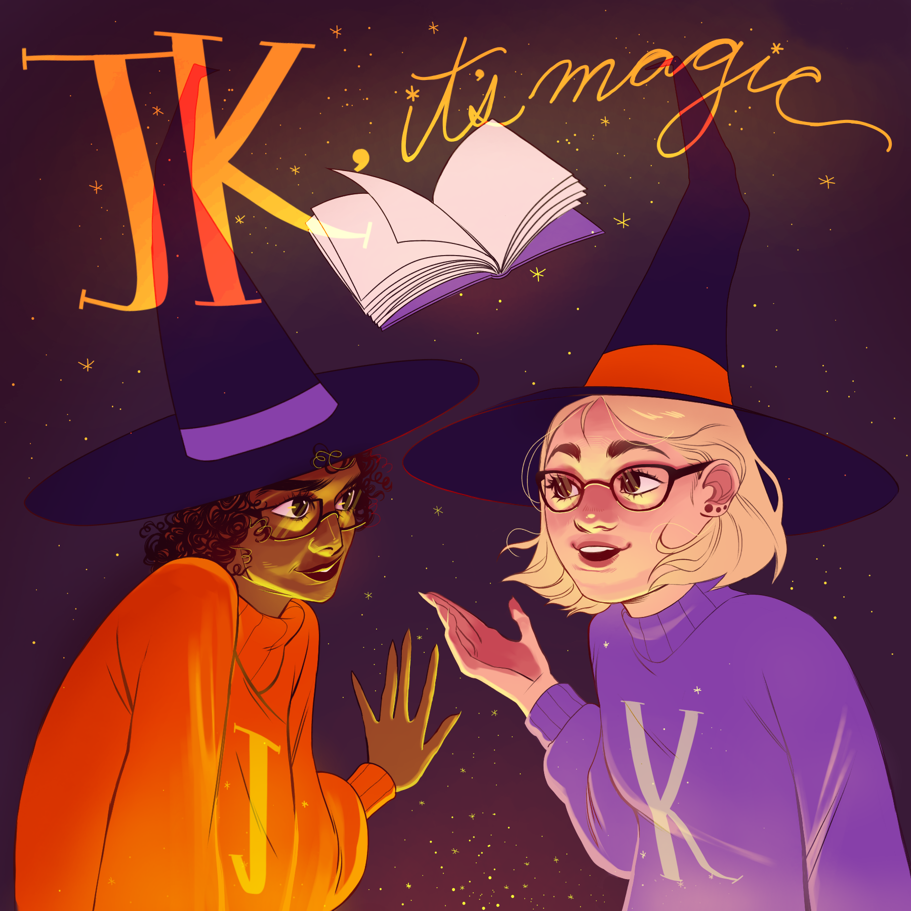 "cartoon renderings of Jessie and Kelly wear black witch hats. A book and text ""JK, it's magic"" float above them"