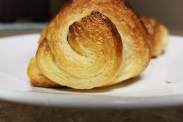 close-up view of a croissant for pasty week great British bake off.