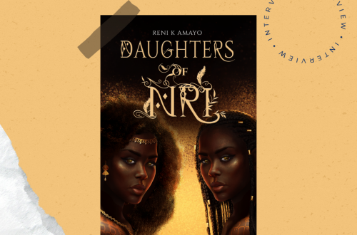 Book cover of Daughters of Nri on a yellowish gold background. Reni. K Amayo is written in calligraphy in the top left, and interview is written 3 times in a circle in the upper right.