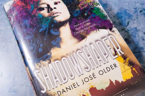 Book, Shadowshaper on a blue and grey background